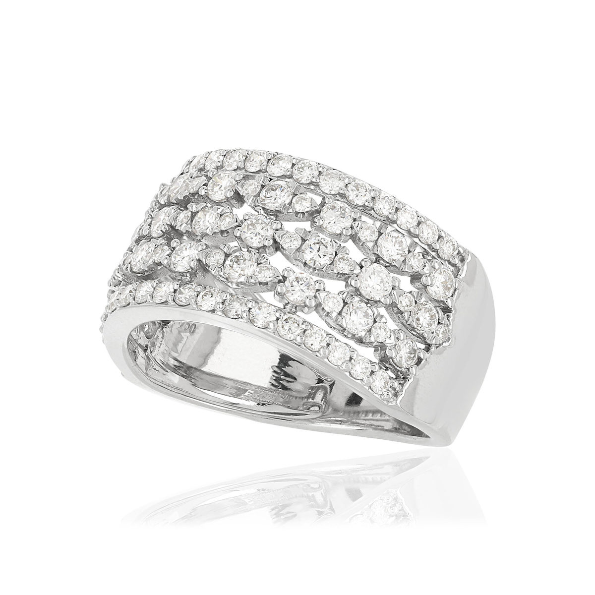 Bague MATY Or 750 blanc Diamants synthétiques - vue VD1