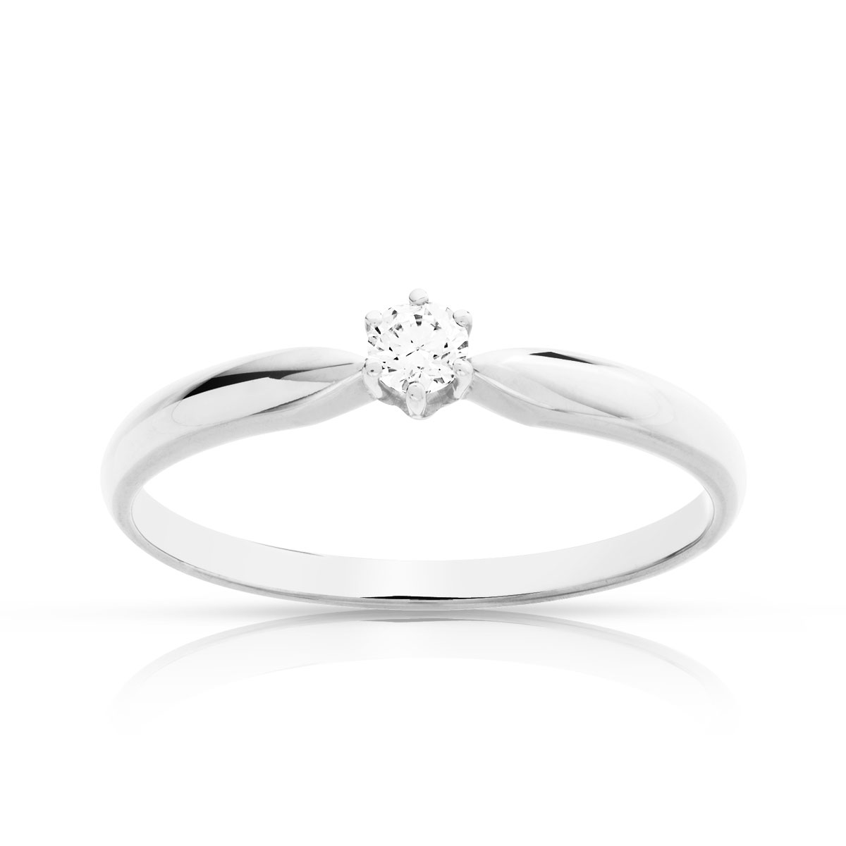 Bague Solitaire or 750 blanc diamant 0.10 ct - vue V1