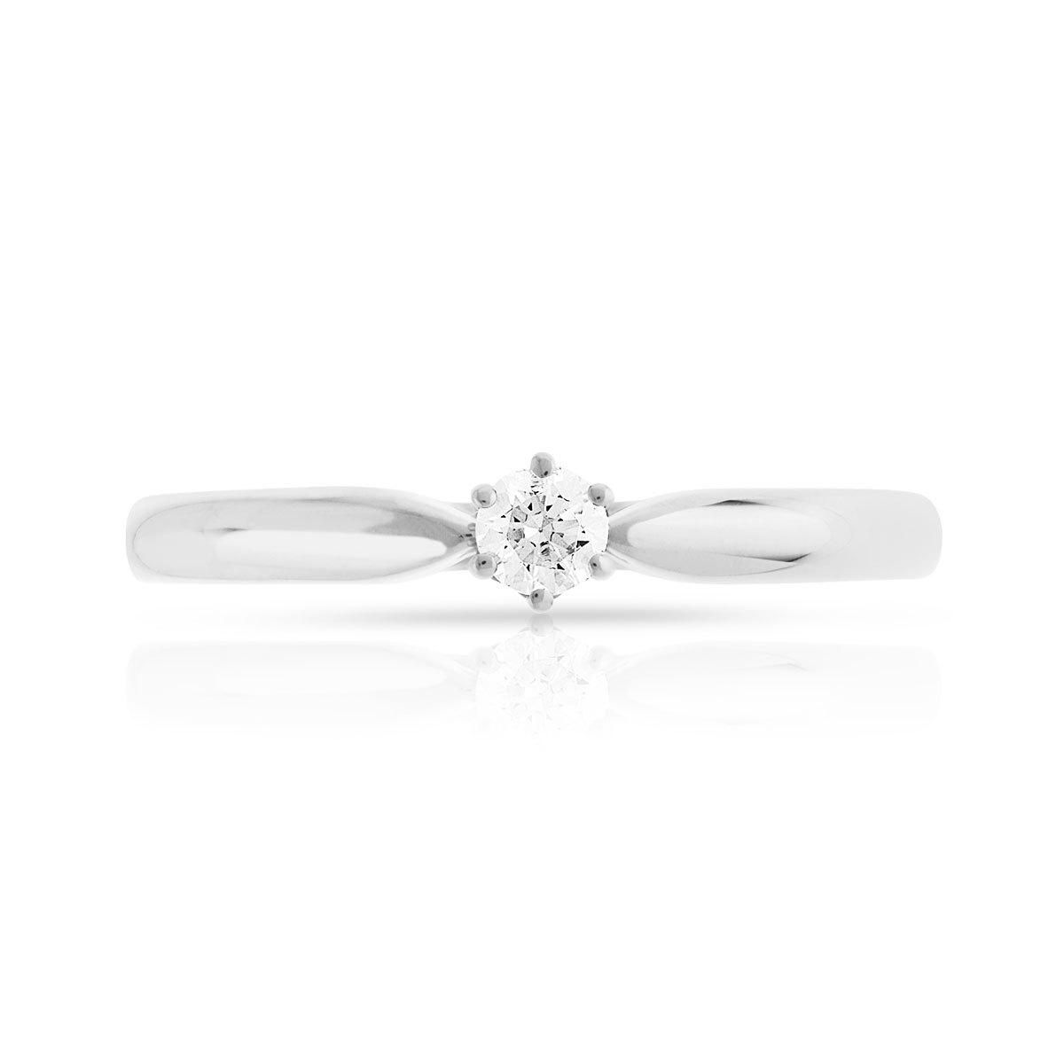 Bague Solitaire or 750 blanc diamant 0.10 ct - vue V3