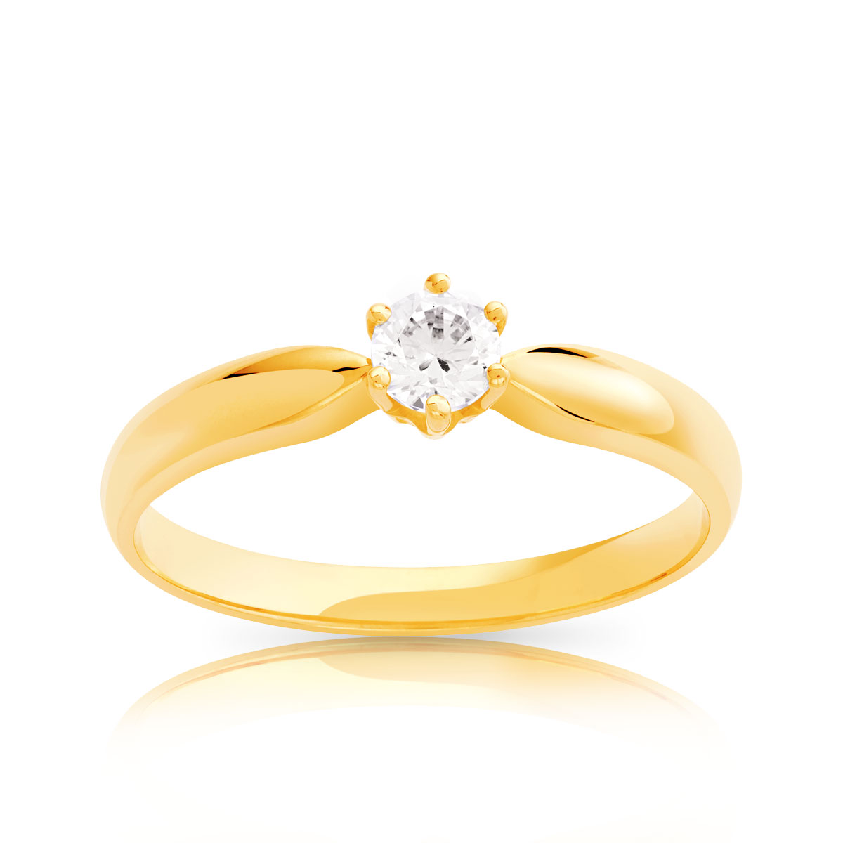 Bague solitaire or 750 dia synth 20/100e de carat - vue V1