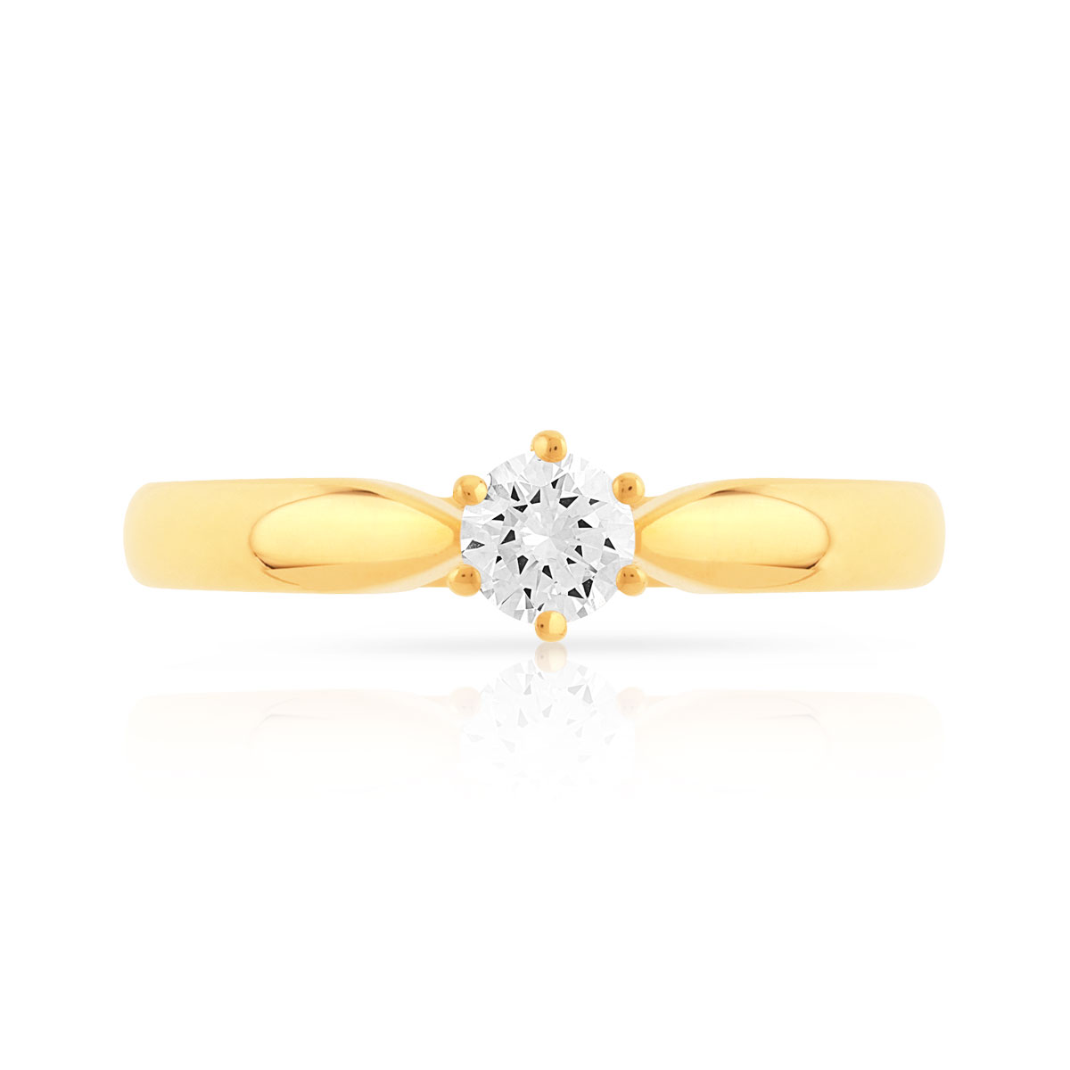Bague solitaire or 750 dia synth 20/100e de carat - vue V3