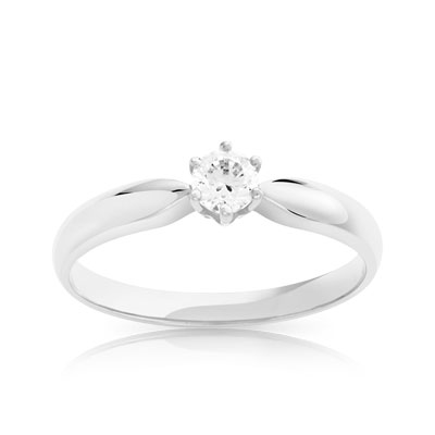 Bague Solitaire or 750 blanc diamant 0.20 ct - vue V1
