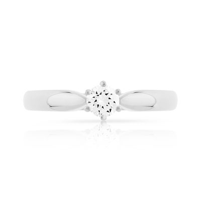 Bague Solitaire or 750 blanc diamant 0.20 ct - vue V3