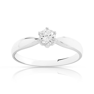 Bague Solitaire or 750 blanc diamant 0.30 ct - vue V1