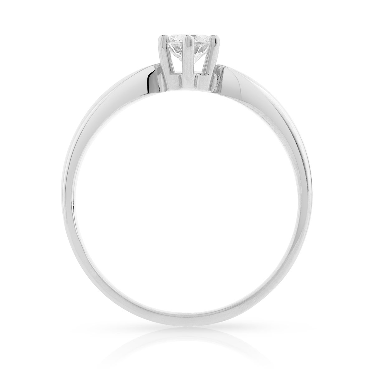 Bague Solitaire or 750 blanc diamant 0.30 ct - vue V2