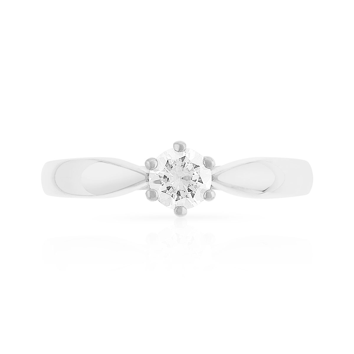 Bague Solitaire or 750 blanc diamant 0.30 ct - vue 3