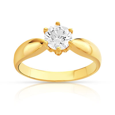 Bague solitaire or 750 dia synth 80/100e de carat - vue V1