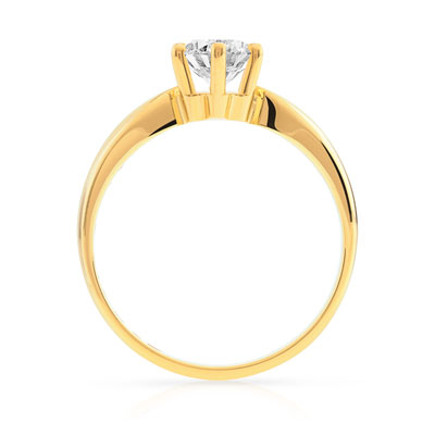 Bague solitaire or 750 dia synth 80/100e de carat - vue V2