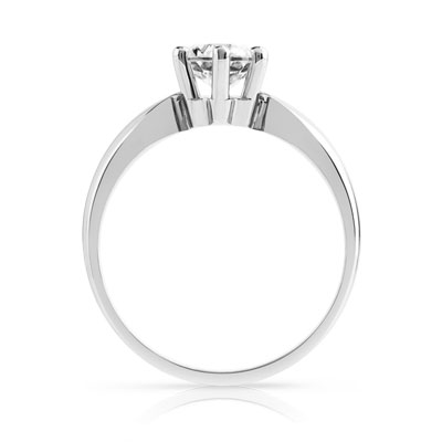 Bague Solitaire or 750 blanc diamant 0.80 ct - vue V2