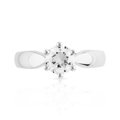 Bague Solitaire or 750 blanc diamant 0.80 ct - vue V3