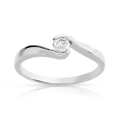 Bague solitaire or 750 blanc diamant synthé 0.30ct - vue V1