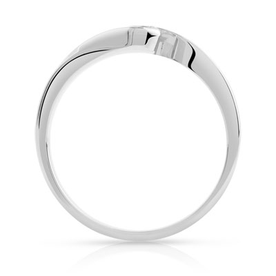 Bague solitaire or 750 blanc diamant synthé 0.30ct - vue V2