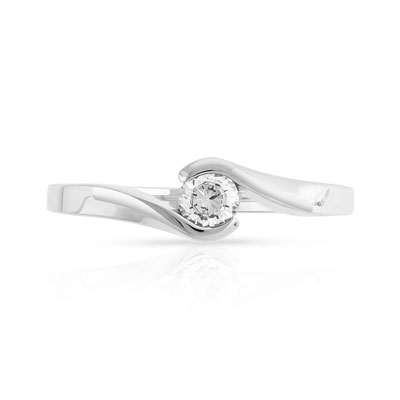 Bague solitaire or 750 blanc diamant synthé 0.30ct - vue V3