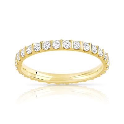 Alliance or 750 jaune diamants synthétiques 0.75ct - vue V1