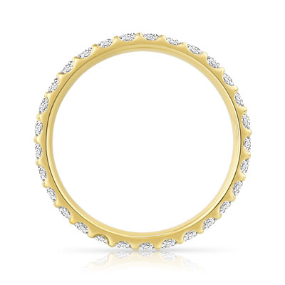 Alliance or 750 jaune diamants synthétiques 0.75ct - vue V2