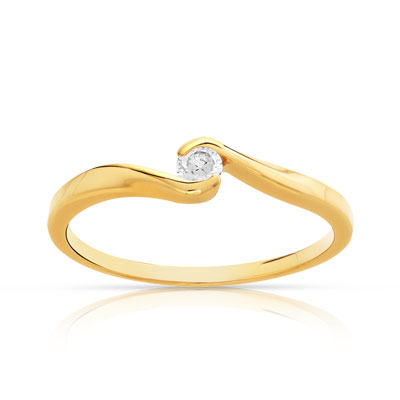 Bague solitaire or 750 jaune diamant 10/100e ct - vue V1