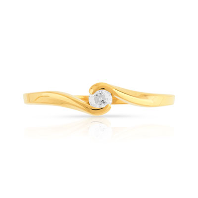 Bague solitaire or 750 jaune diamant 10/100e ct - vue V3