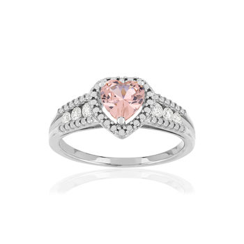 Bague argent morganite diamants