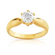 Bague solitaire or 750 jaune diamant 70/100e de carat