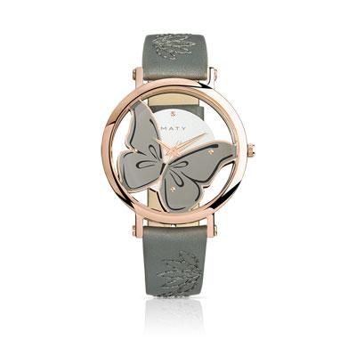 Super Montre femme acier rose bracelet cuir - Femme - Montre quartz | MATY QC48