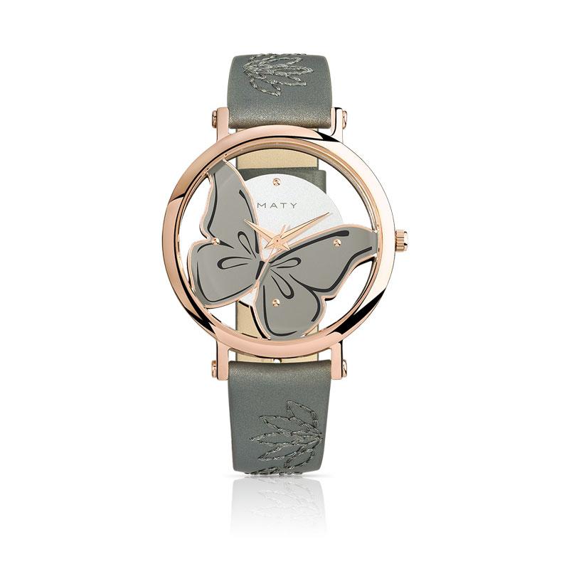 Super Montre femme acier rose bracelet cuir - Femme - Montre quartz | MATY LZ34