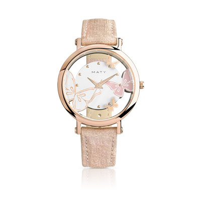 montre femme acier rose bracelet cuir rose femme montre quartz maty. Black Bedroom Furniture Sets. Home Design Ideas