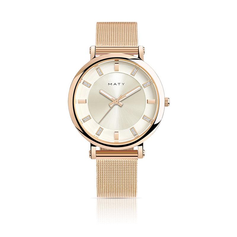 Montre femme bracelet acier rose , vue V1