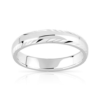 Alliance argent 925 diamanté 4 mm