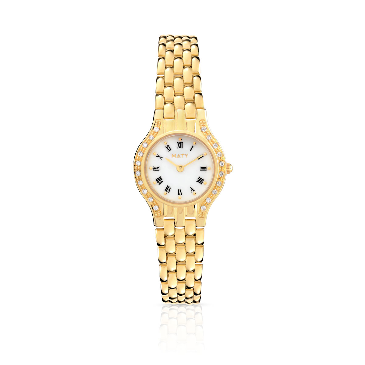 Montre femme or 750 jaune diamant bracelet or 750 - vue V1