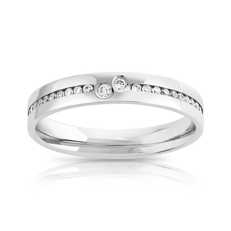 alliance demi tour or 750 blanc diamant femme 24 diamants maty. Black Bedroom Furniture Sets. Home Design Ideas