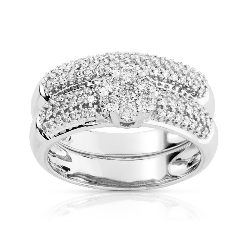Bague et alliance demi-tour or blanc diamant - vue 1