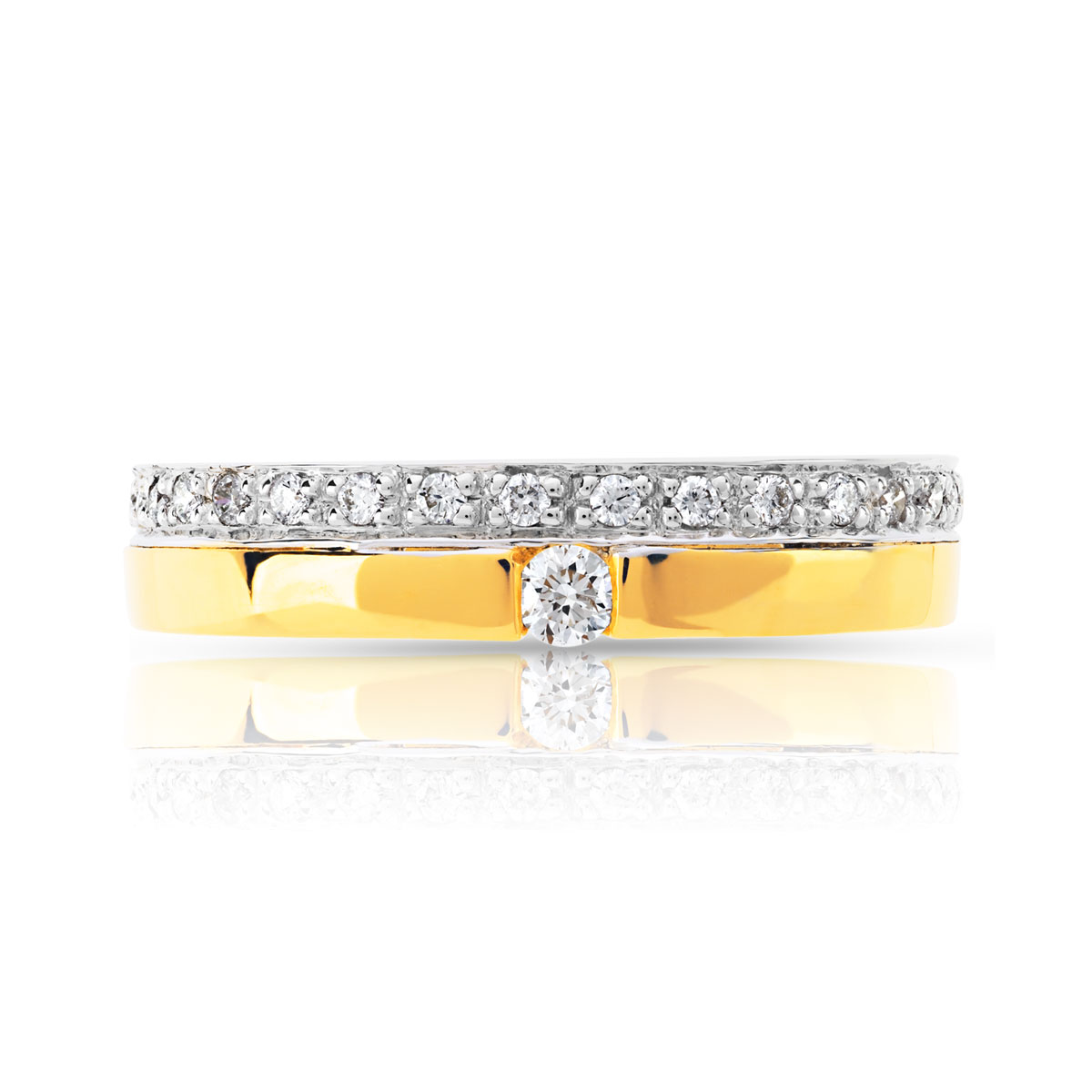 Fabuleux Bague alliance et solitaire 2 ors 750 diamant - Femme - Bague | MATY OW05