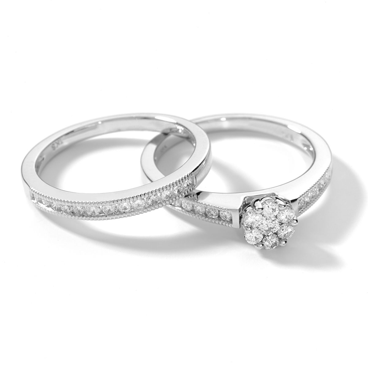 Bague et alliance demi-tour or 750 blanc diamant - vue VD1