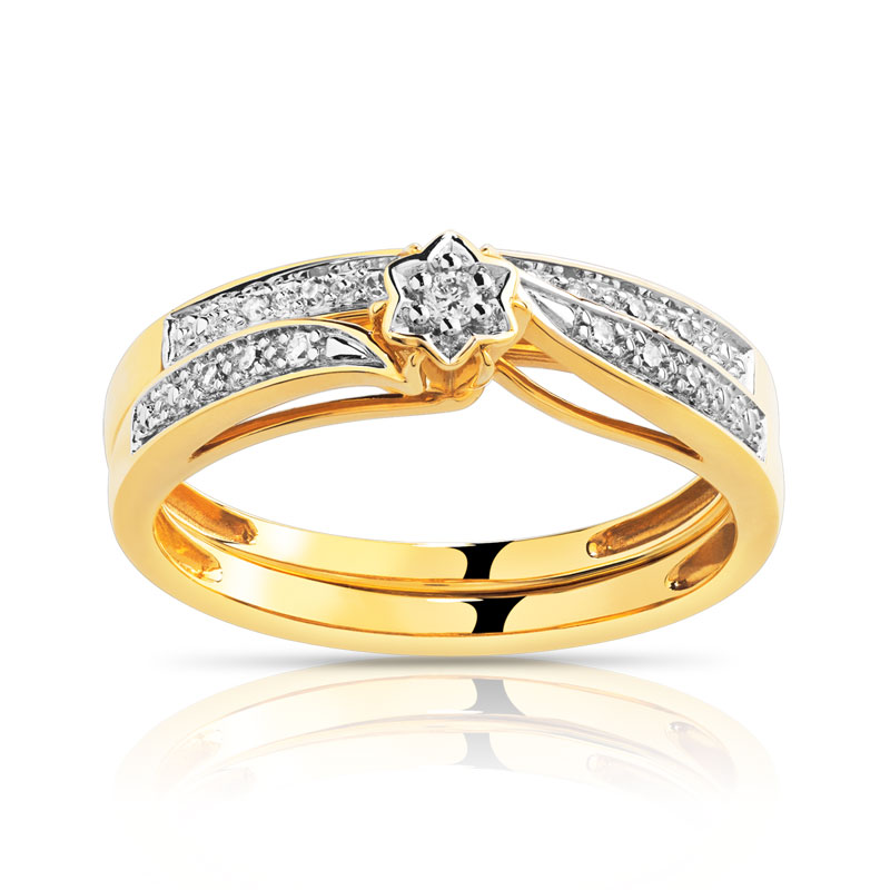 duo alliance solitaire or 2 tons 750 diamant femme solitaire maty