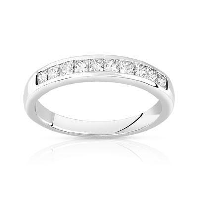 Alliance demi tour or 750 blanc diamant - Femme - 10 diamants  MATY