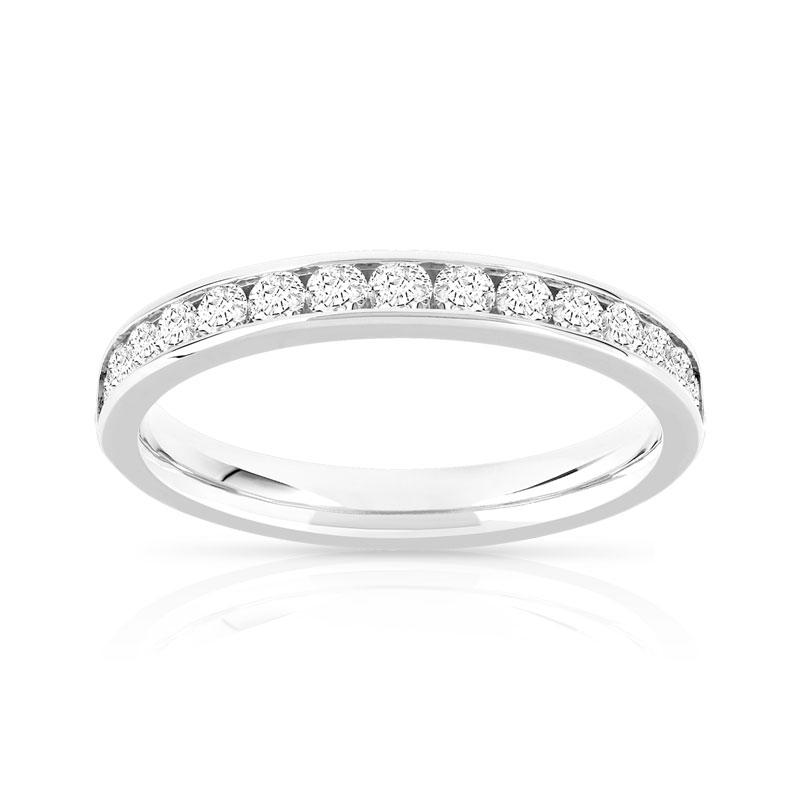 alliance demi tour or 750 blanc diamant femme 15 diamants maty. Black Bedroom Furniture Sets. Home Design Ideas