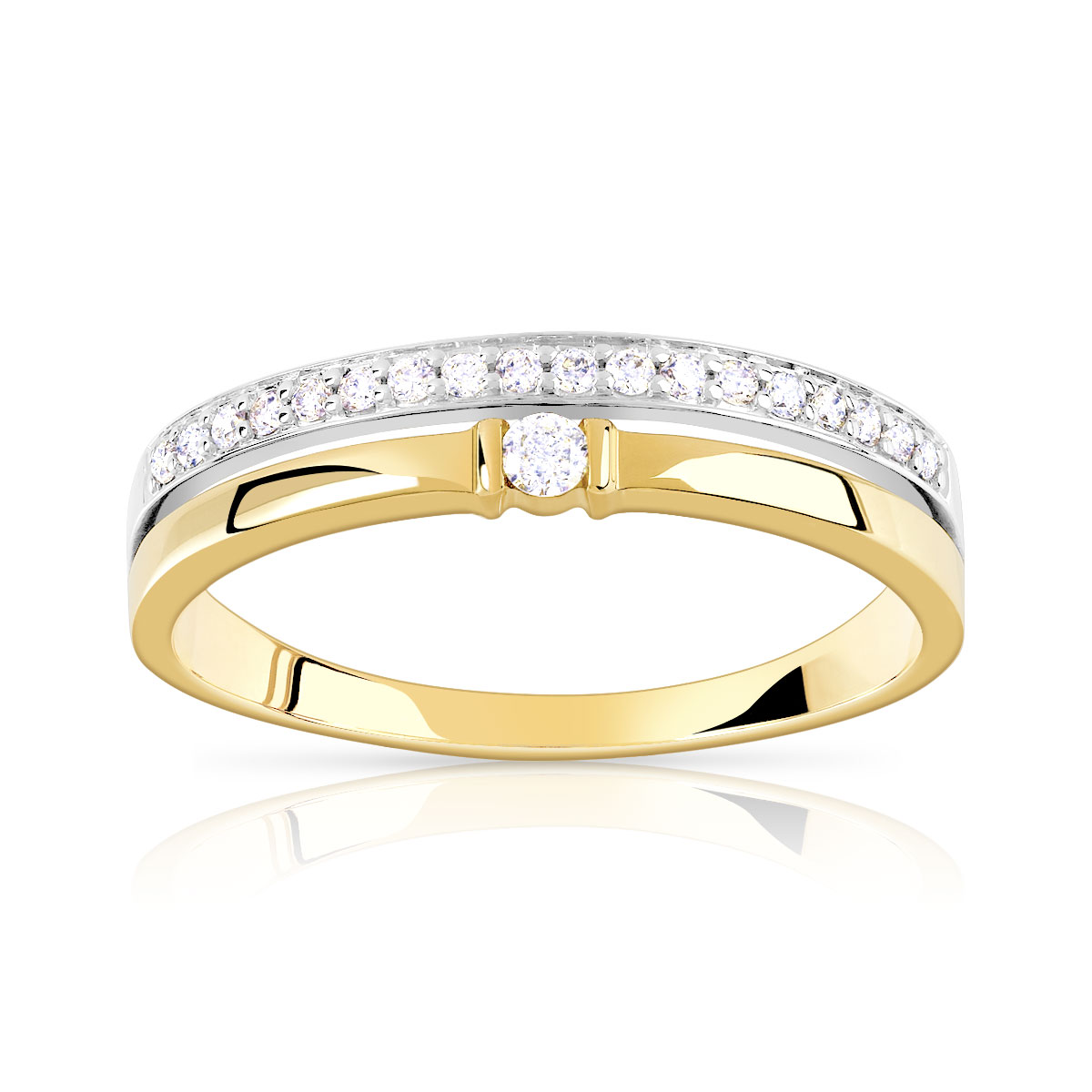 Bague alliance solitaire 2 ors 750 diamant - vue V1