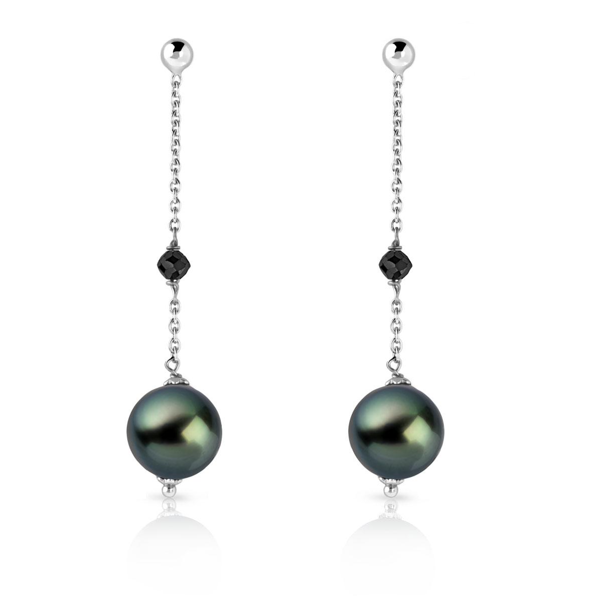 meilleure sélection de en stock assez bon marché Boucles d'oreilles or 750 blanc perles culture Tahiti diamant