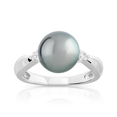 magasiner pour le meilleur expédition gratuite attrayant et durable Bague or 750 blanc perle de culture de tahiti et diamant