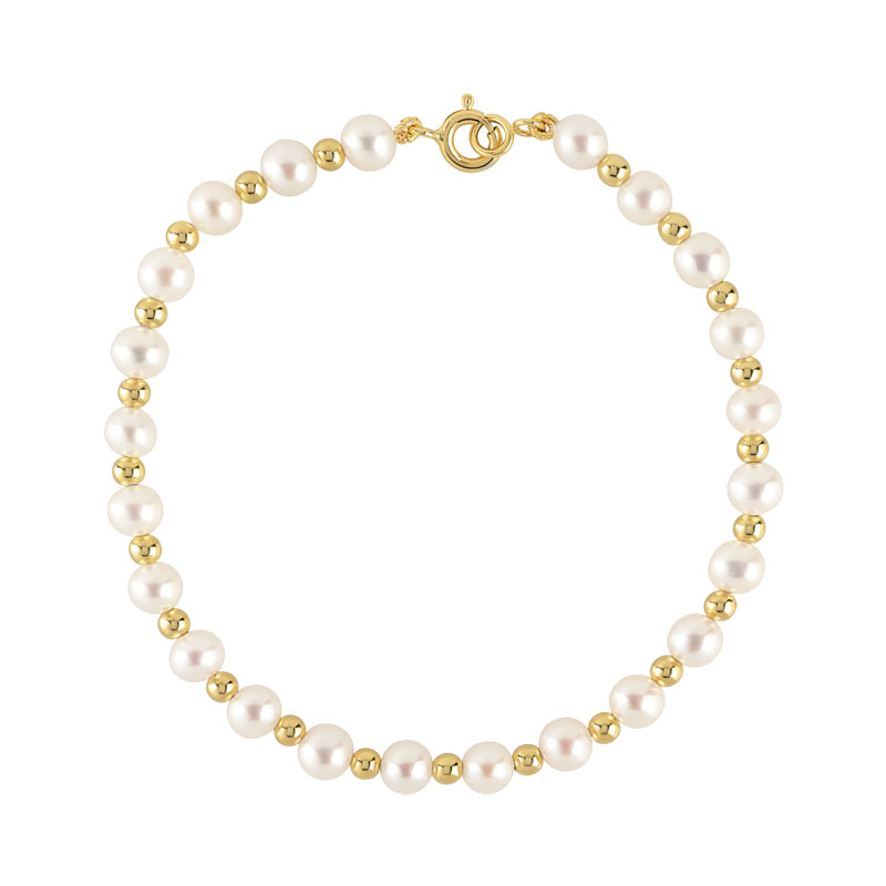 bracelet or 750 jaune perle de culture de chine femme bracelet maille souple maty. Black Bedroom Furniture Sets. Home Design Ideas