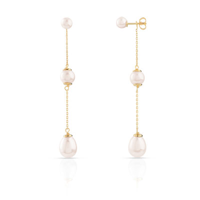 Boucles d'oreilles or 750 jaune perle de culture de chine - vue 1