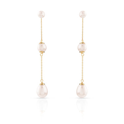 Boucles d'oreilles or 750 jaune perle de culture de chine - vue D1
