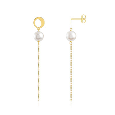 Boucles d'oreilles or 750 jaune perle de culture de chine - vue V1