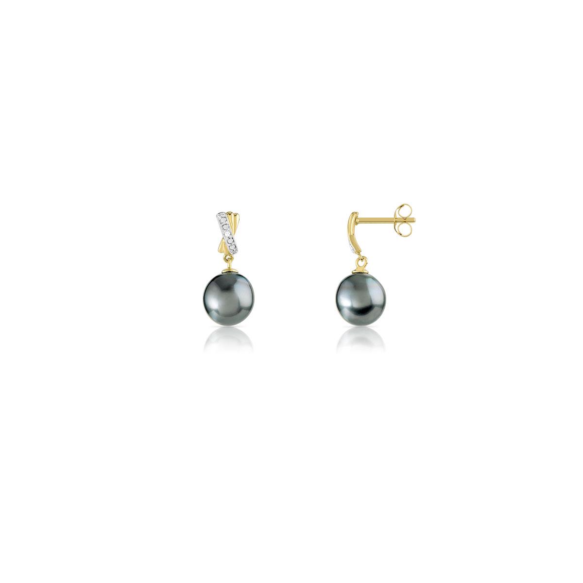 fournir un grand choix de nouveau sélection super mignon Boucles d'oreilles or 750 2 tons perles de tahiti diamant