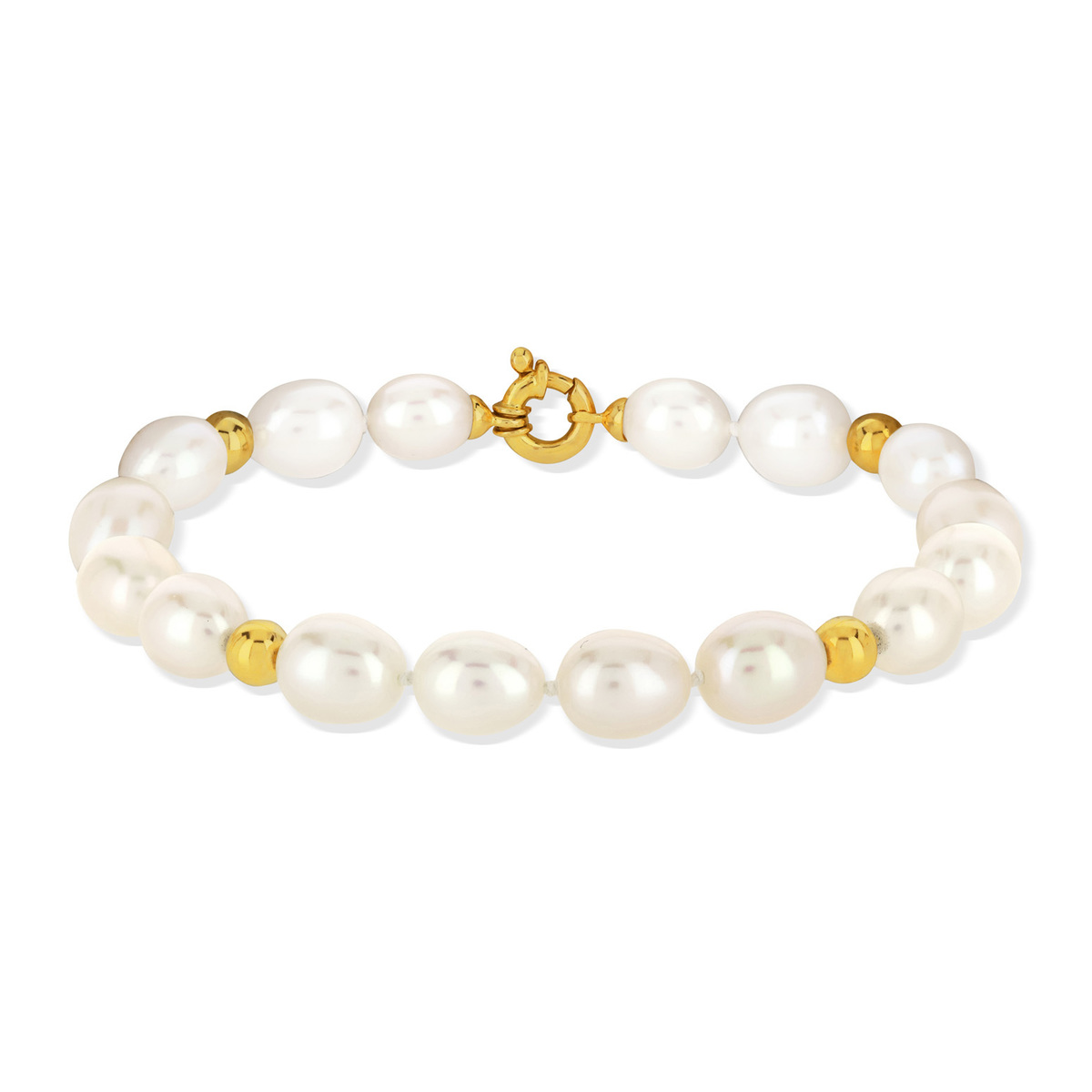 Bracelet or jaune 750 perle culture chine - vue 2
