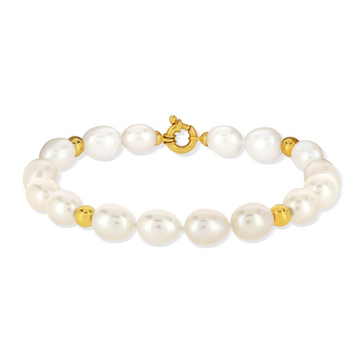 Bracelet or jaune 750 perle culture chine - vue V2