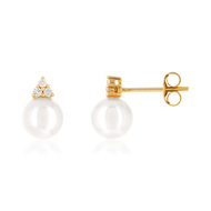 Boucles d'oreilles or 750 p. culture japon diamant