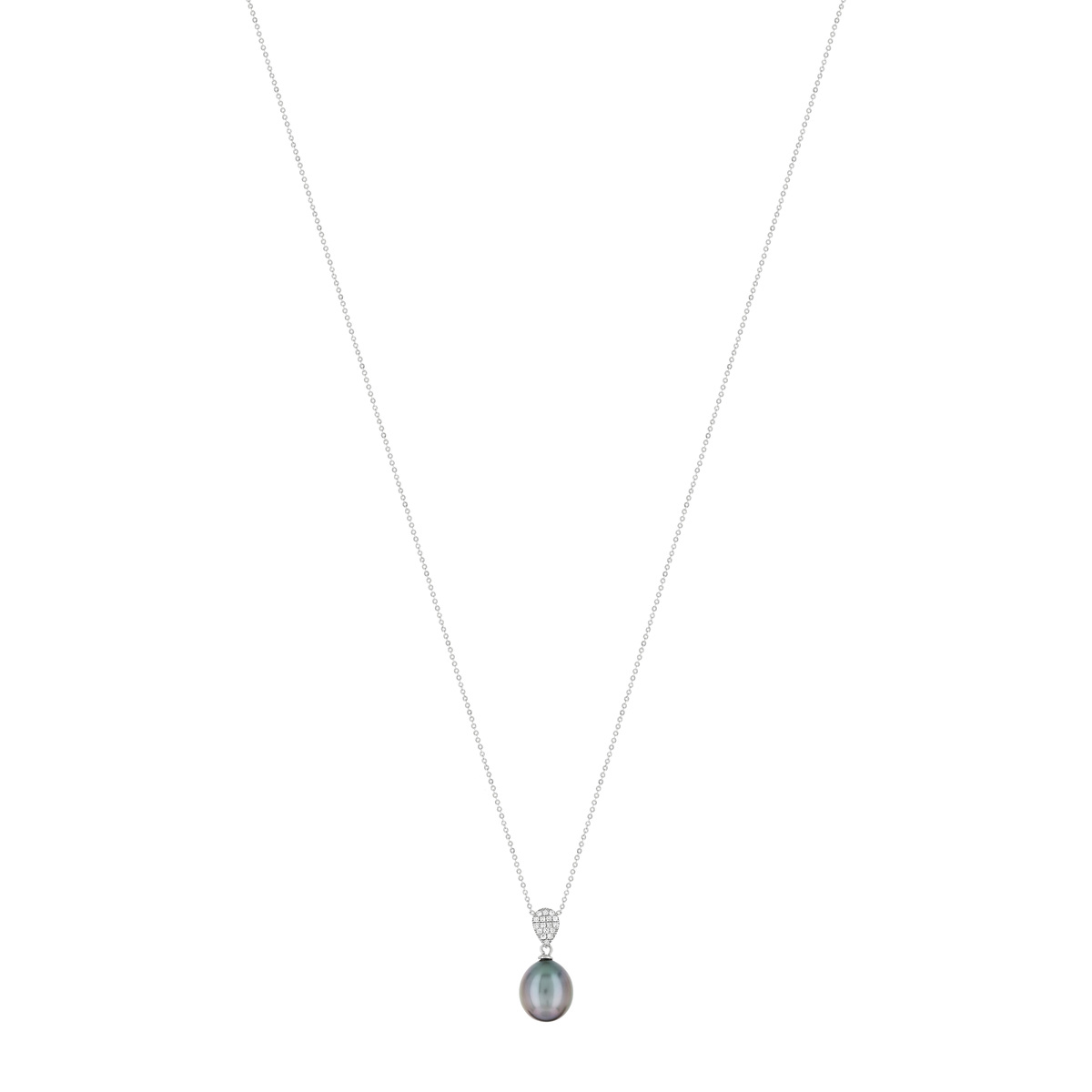 Collier or blanc 750 perle culture tahiti diamant - vue 1