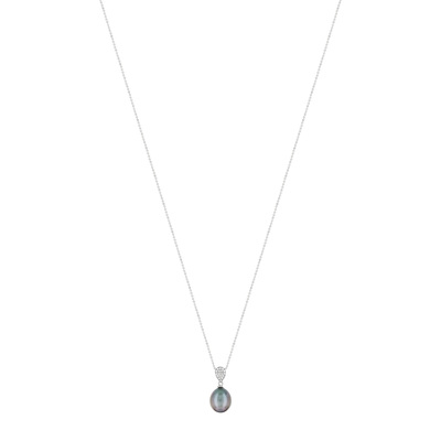 Collier or blanc 750 perle culture tahiti diamant - vue V1