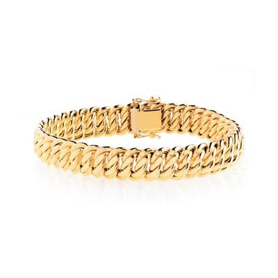 Bracelet or 750 jaune maille américaine , vue VD1